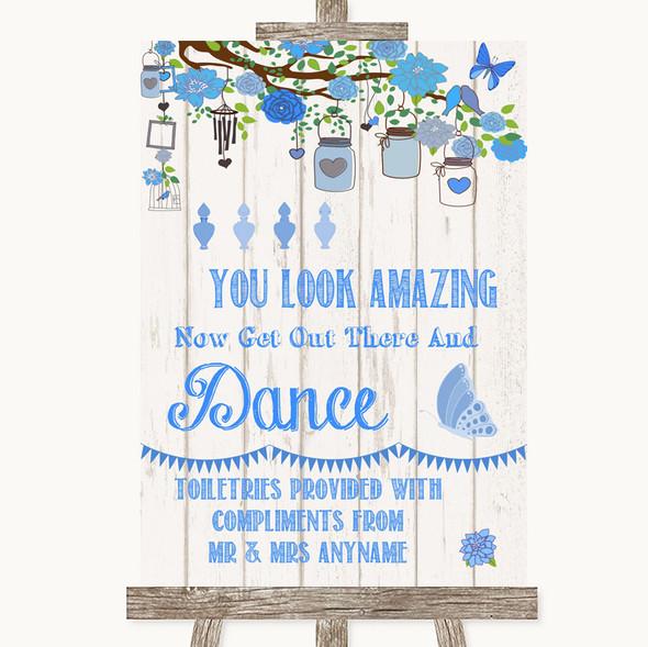 Blue Rustic Wood Toiletries Comfort Basket Personalised Wedding Sign