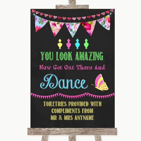 Bright Bunting Chalk Toiletries Comfort Basket Personalised Wedding Sign