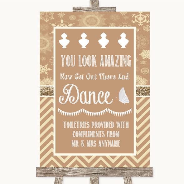 Brown Winter Toiletries Comfort Basket Personalised Wedding Sign