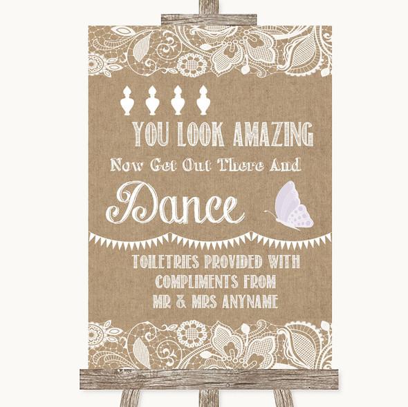 Burlap & Lace Toiletries Comfort Basket Personalised Wedding Sign