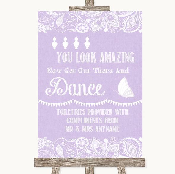 Lilac Burlap & Lace Toiletries Comfort Basket Personalised Wedding Sign