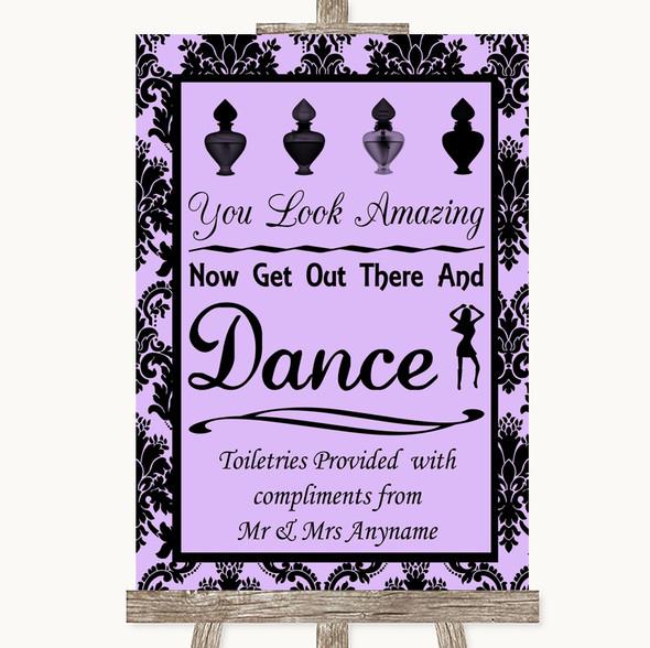 Lilac Damask Toiletries Comfort Basket Personalised Wedding Sign