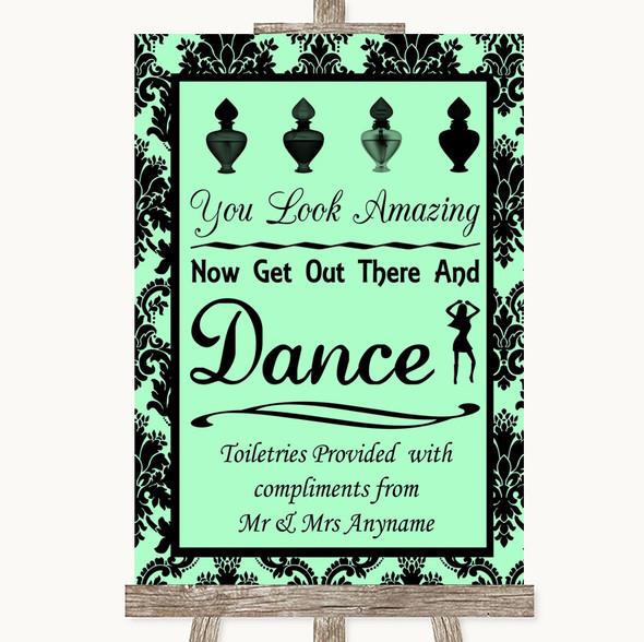Mint Green Damask Toiletries Comfort Basket Personalised Wedding Sign