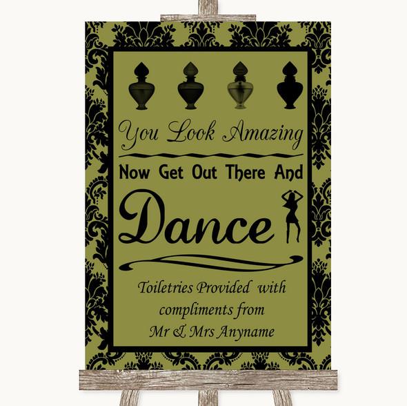 Olive Green Damask Toiletries Comfort Basket Personalised Wedding Sign