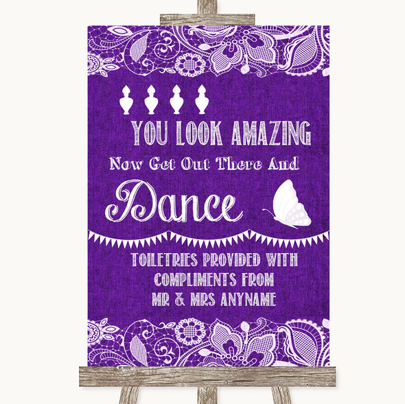 Purple Burlap & Lace Toiletries Comfort Basket Personalised Wedding Sign