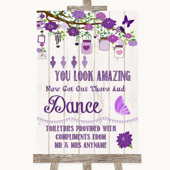 Purple Rustic Wood Toiletries Comfort Basket Personalised Wedding Sign