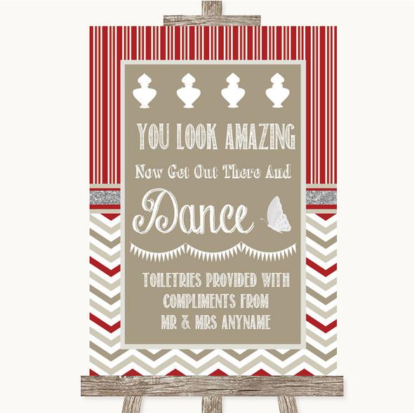 Red & Grey Winter Toiletries Comfort Basket Personalised Wedding Sign