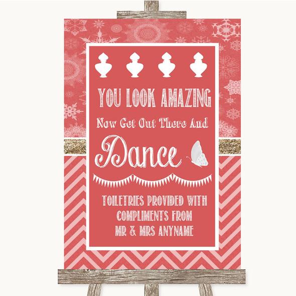 Red Winter Toiletries Comfort Basket Personalised Wedding Sign