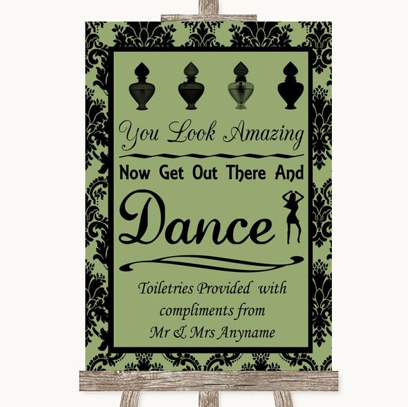 Sage Green Damask Toiletries Comfort Basket Personalised Wedding Sign