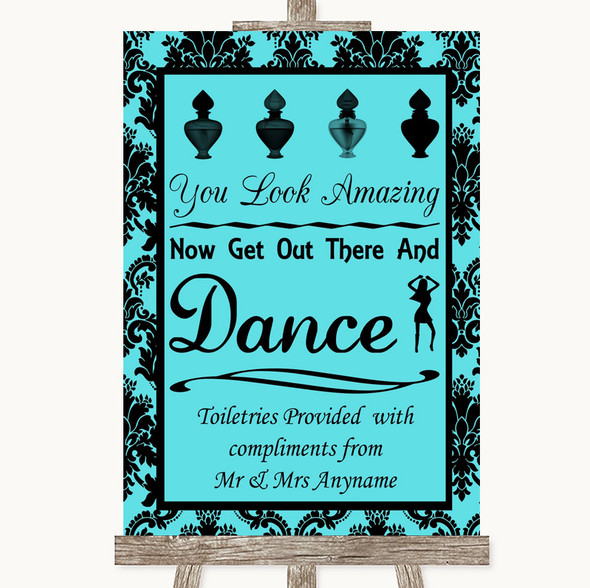 Tiffany Blue Damask Toiletries Comfort Basket Personalised Wedding Sign