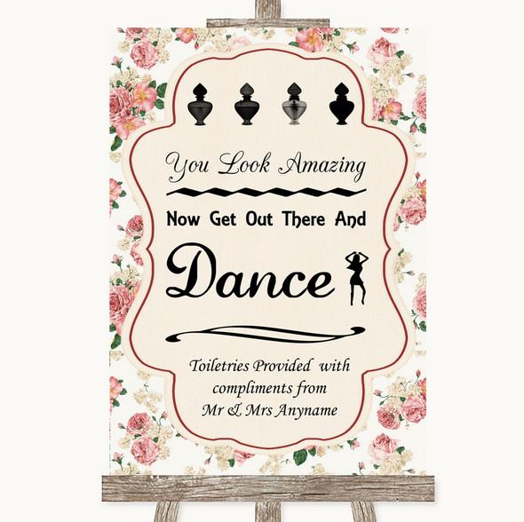 Vintage Roses Toiletries Comfort Basket Personalised Wedding Sign