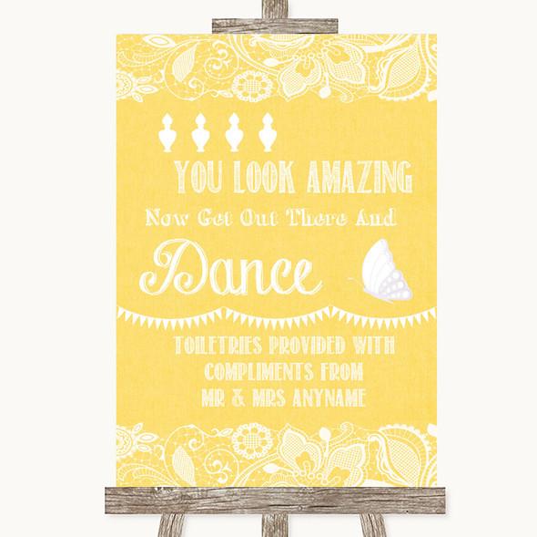 Yellow Burlap & Lace Toiletries Comfort Basket Personalised Wedding Sign