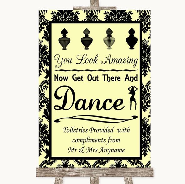 Yellow Damask Toiletries Comfort Basket Personalised Wedding Sign