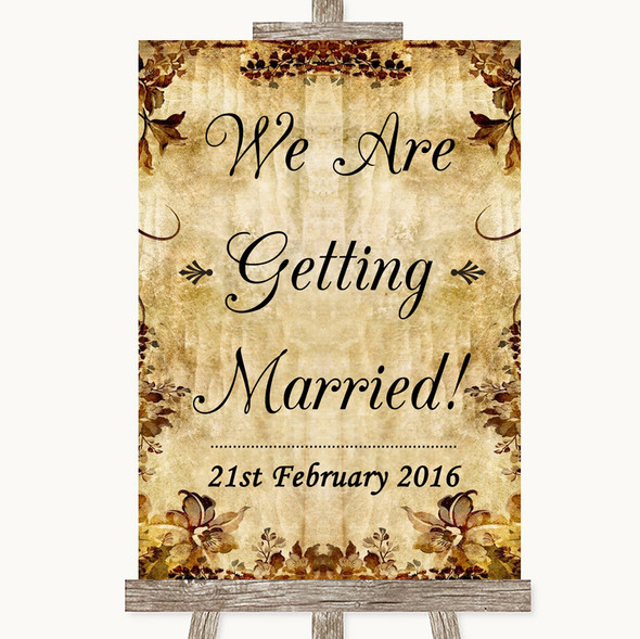 Autumn Vintage We Are Getting Married Personalised Wedding Sign