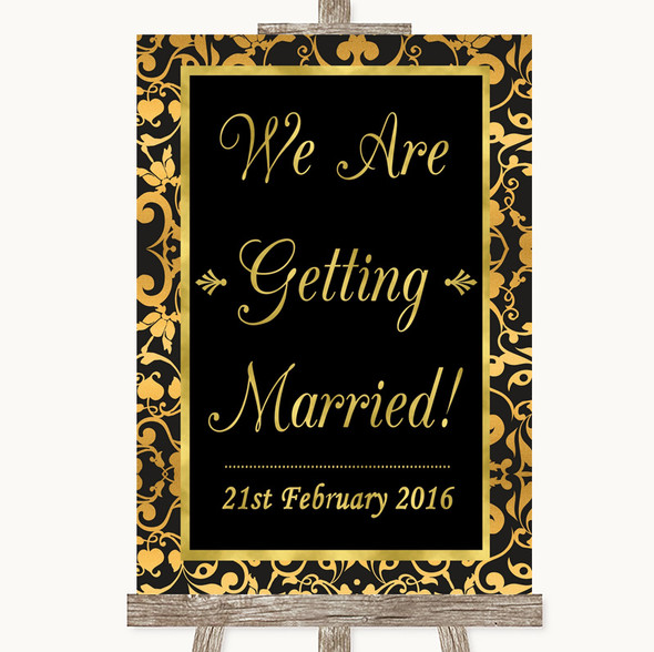 Black & Gold Damask We Are Getting Married Personalised Wedding Sign