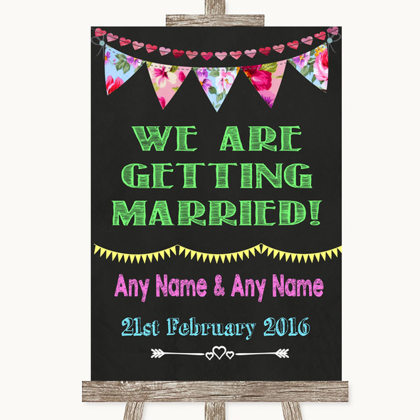 Bright Bunting Chalk We Are Getting Married Personalised Wedding Sign