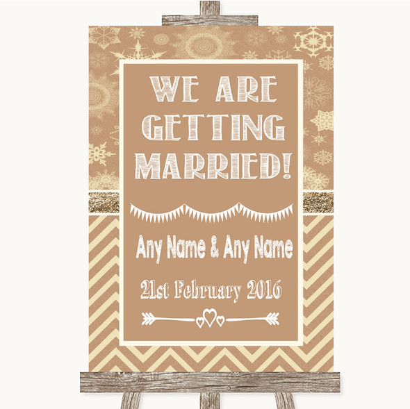Brown Winter We Are Getting Married Personalised Wedding Sign