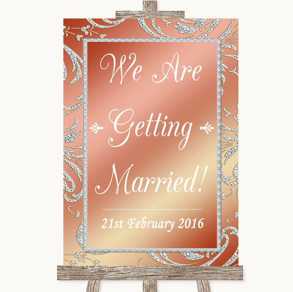 Coral Pink We Are Getting Married Personalised Wedding Sign