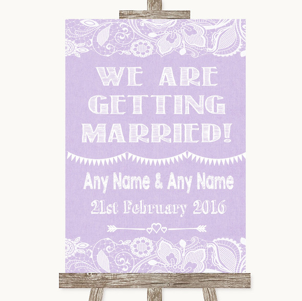 Lilac Burlap & Lace We Are Getting Married Personalised Wedding Sign