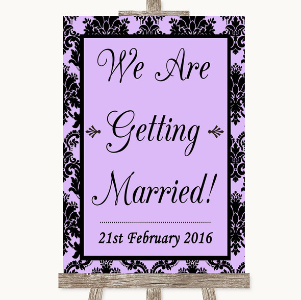 Lilac Damask We Are Getting Married Personalised Wedding Sign
