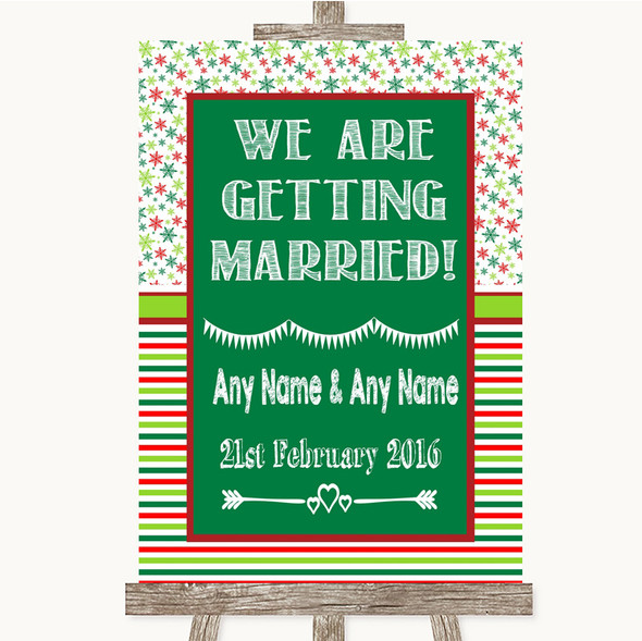 Red & Green Winter We Are Getting Married Personalised Wedding Sign