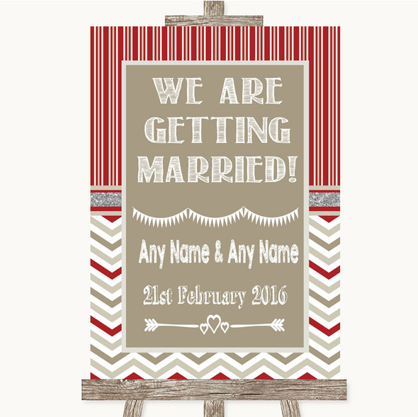 Red & Grey Winter We Are Getting Married Personalised Wedding Sign