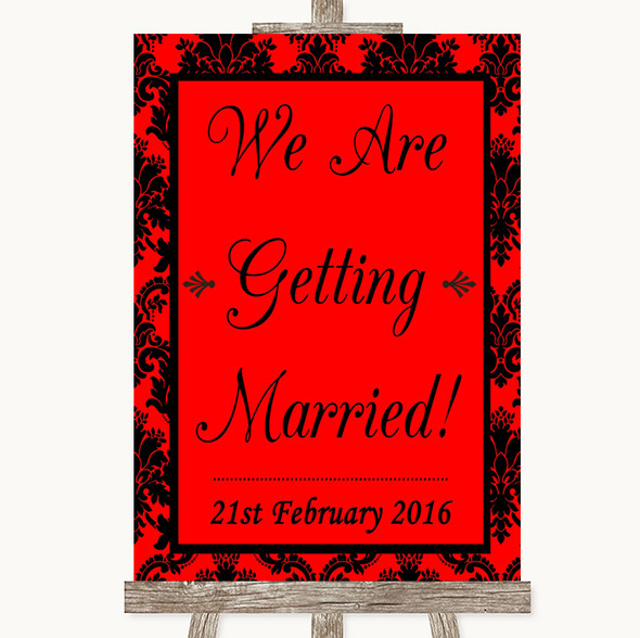 Red Damask We Are Getting Married Personalised Wedding Sign