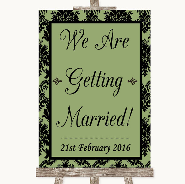 Sage Green Damask We Are Getting Married Personalised Wedding Sign