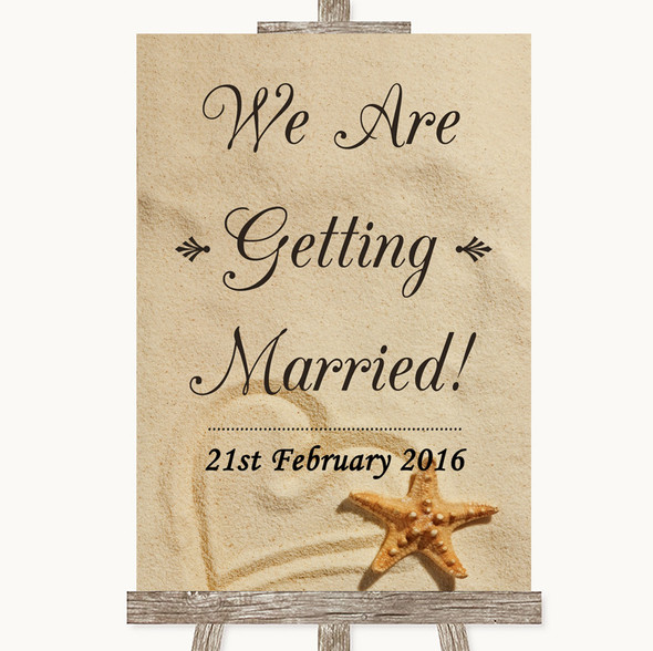 Sandy Beach We Are Getting Married Personalised Wedding Sign