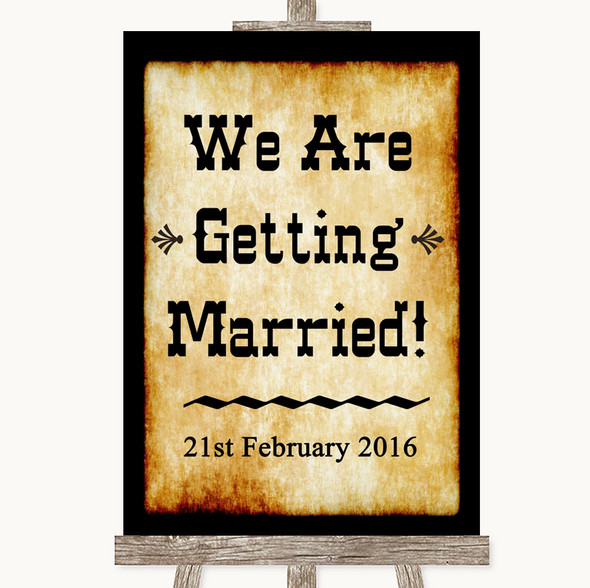 Western We Are Getting Married Personalised Wedding Sign