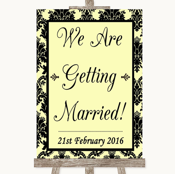 Yellow Damask We Are Getting Married Personalised Wedding Sign