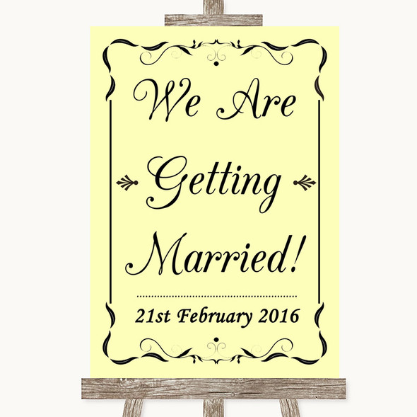 Yellow We Are Getting Married Personalised Wedding Sign