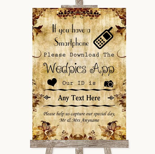 Autumn Vintage Wedpics App Photos Personalised Wedding Sign