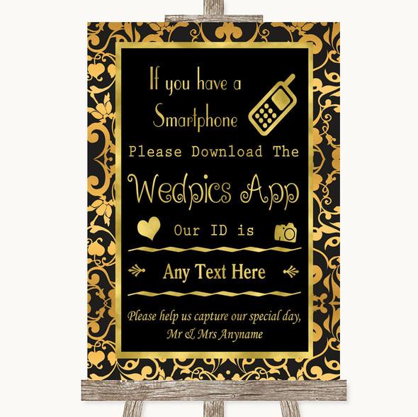 Black & Gold Damask Wedpics App Photos Personalised Wedding Sign