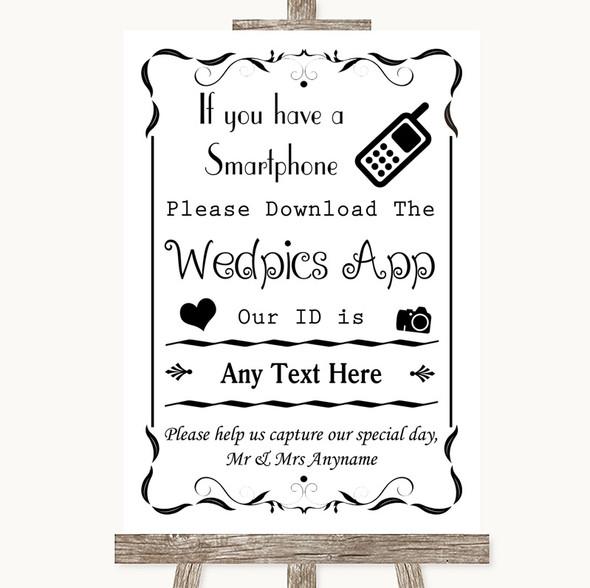 Black & White Wedpics App Photos Personalised Wedding Sign