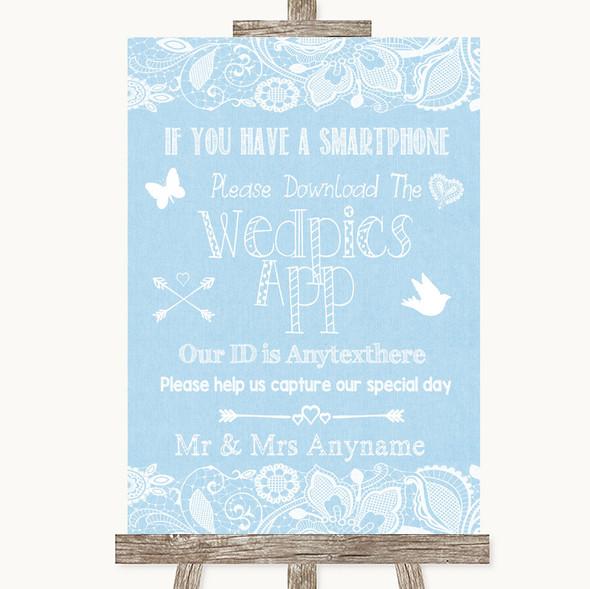 Blue Burlap & Lace Wedpics App Photos Personalised Wedding Sign