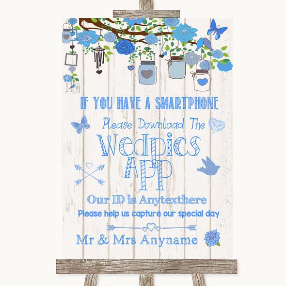 Blue Rustic Wood Wedpics App Photos Personalised Wedding Sign