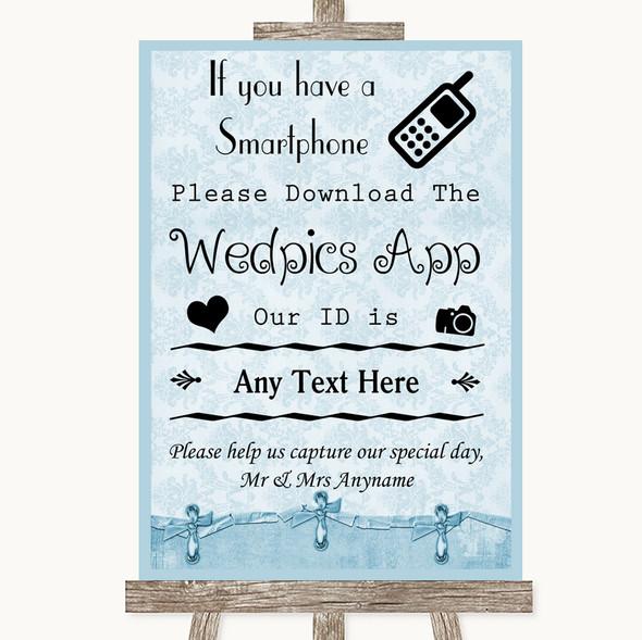 Blue Shabby Chic Wedpics App Photos Personalised Wedding Sign