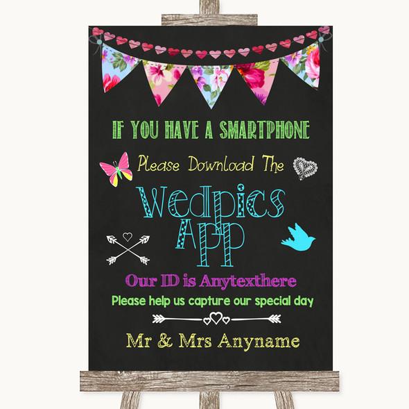 Bright Bunting Chalk Wedpics App Photos Personalised Wedding Sign