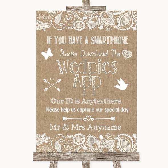Burlap & Lace Wedpics App Photos Personalised Wedding Sign