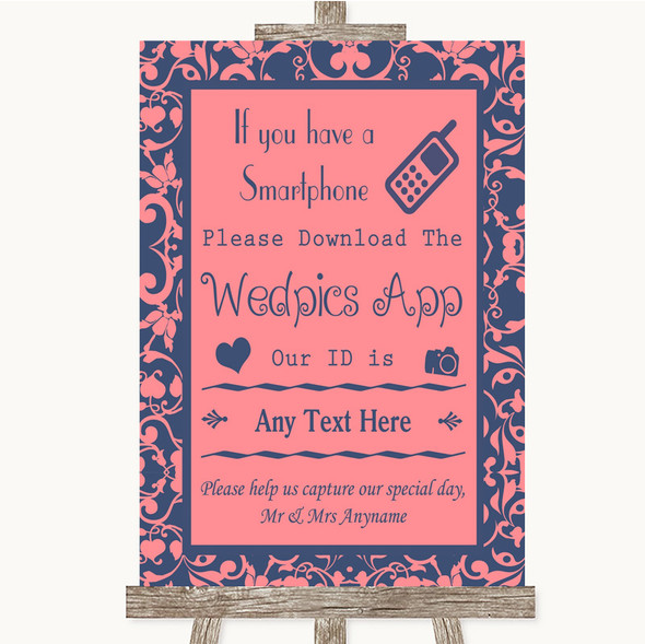 Coral Pink & Blue Wedpics App Photos Personalised Wedding Sign