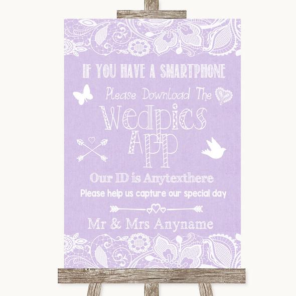 Lilac Burlap & Lace Wedpics App Photos Personalised Wedding Sign