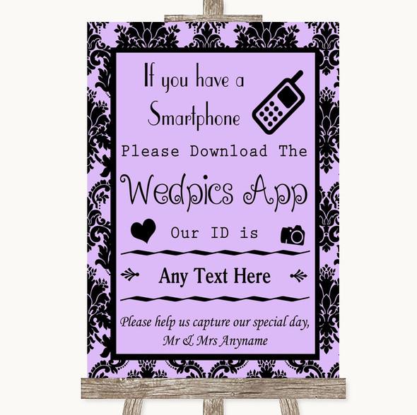 Lilac Damask Wedpics App Photos Personalised Wedding Sign