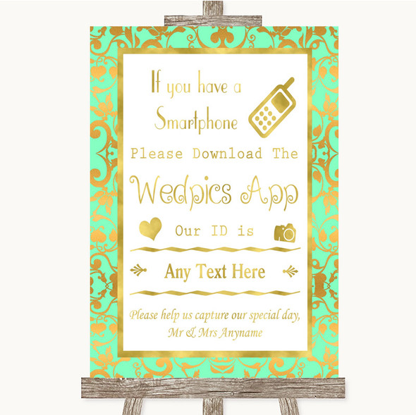Mint Green & Gold Wedpics App Photos Personalised Wedding Sign