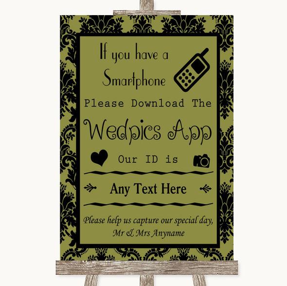 Olive Green Damask Wedpics App Photos Personalised Wedding Sign