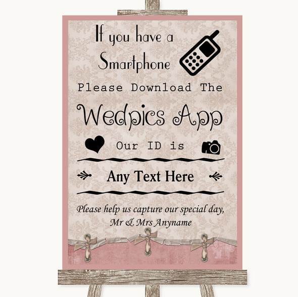 Pink Shabby Chic Wedpics App Photos Personalised Wedding Sign