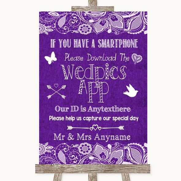 Purple Burlap & Lace Wedpics App Photos Personalised Wedding Sign