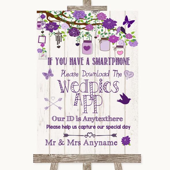Purple Rustic Wood Wedpics App Photos Personalised Wedding Sign