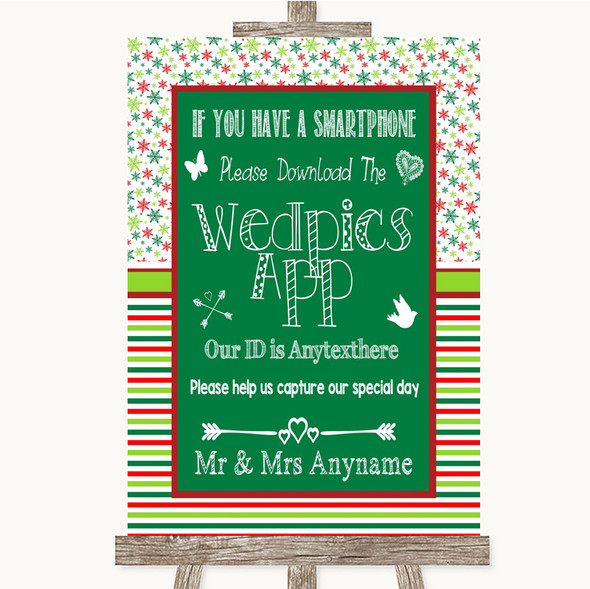 Red & Green Winter Wedpics App Photos Personalised Wedding Sign