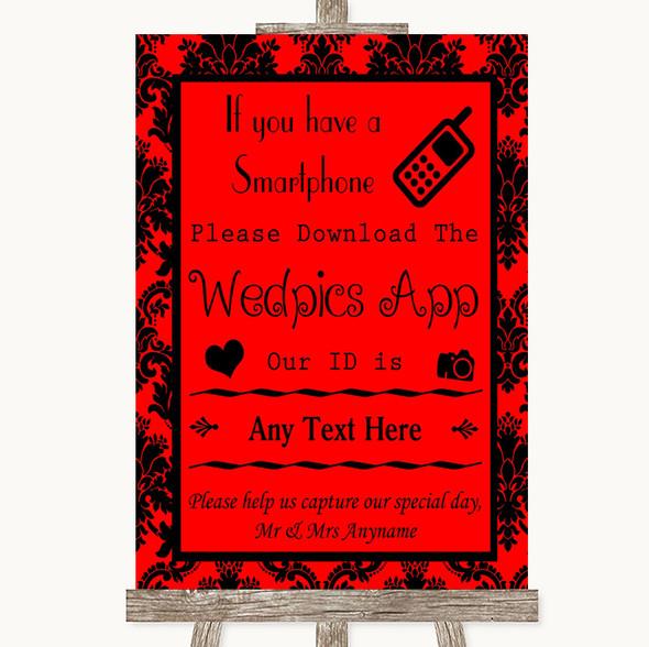 Red Damask Wedpics App Photos Personalised Wedding Sign
